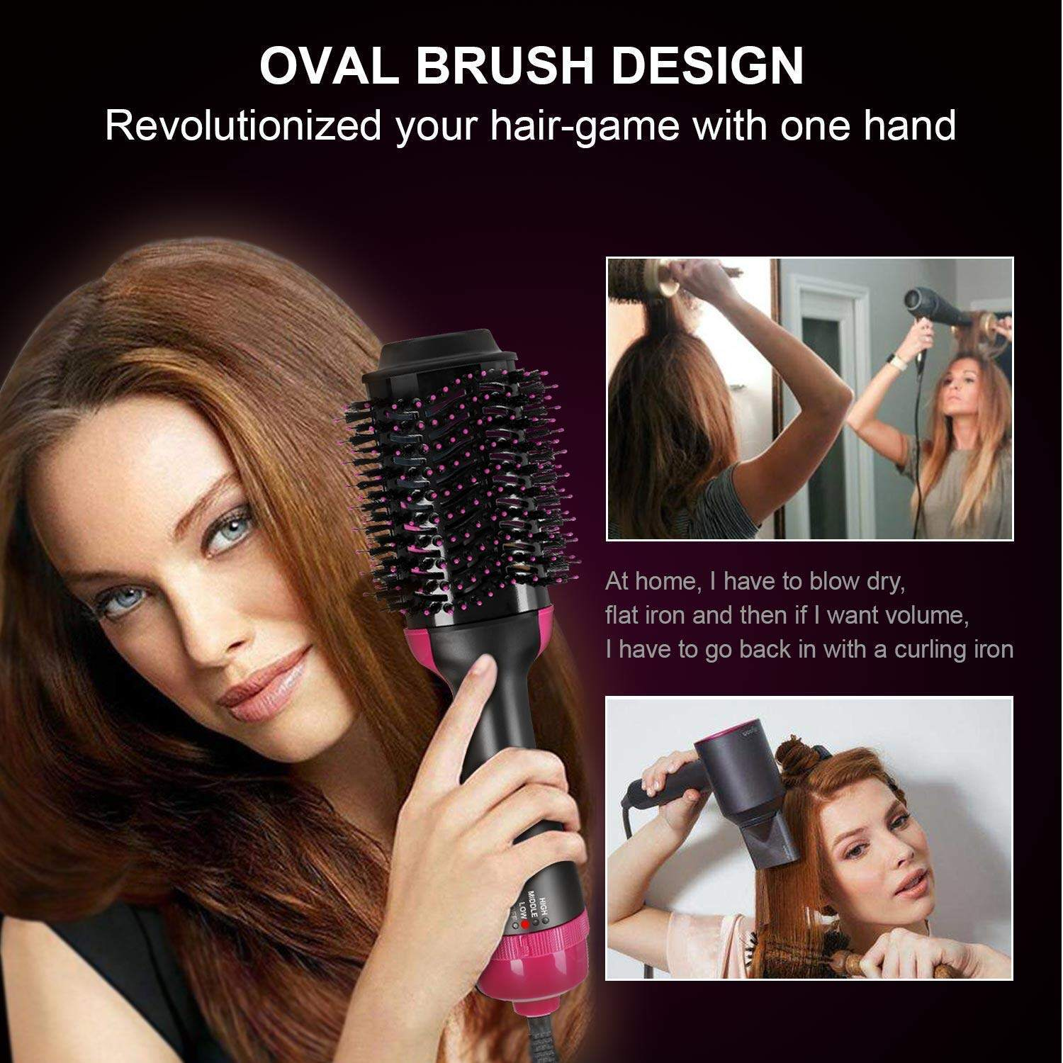 Homfu Hair Dryer Brush Hot Air Brush, One Step Hair Dryer & Volumizer Styler for Straightening Curling Salon Negative Ion Ceramic Electric Blow Dryer Straightener Curl Brush  Hot Air Brush,hair dryer brush,one step hair dryer volumizer