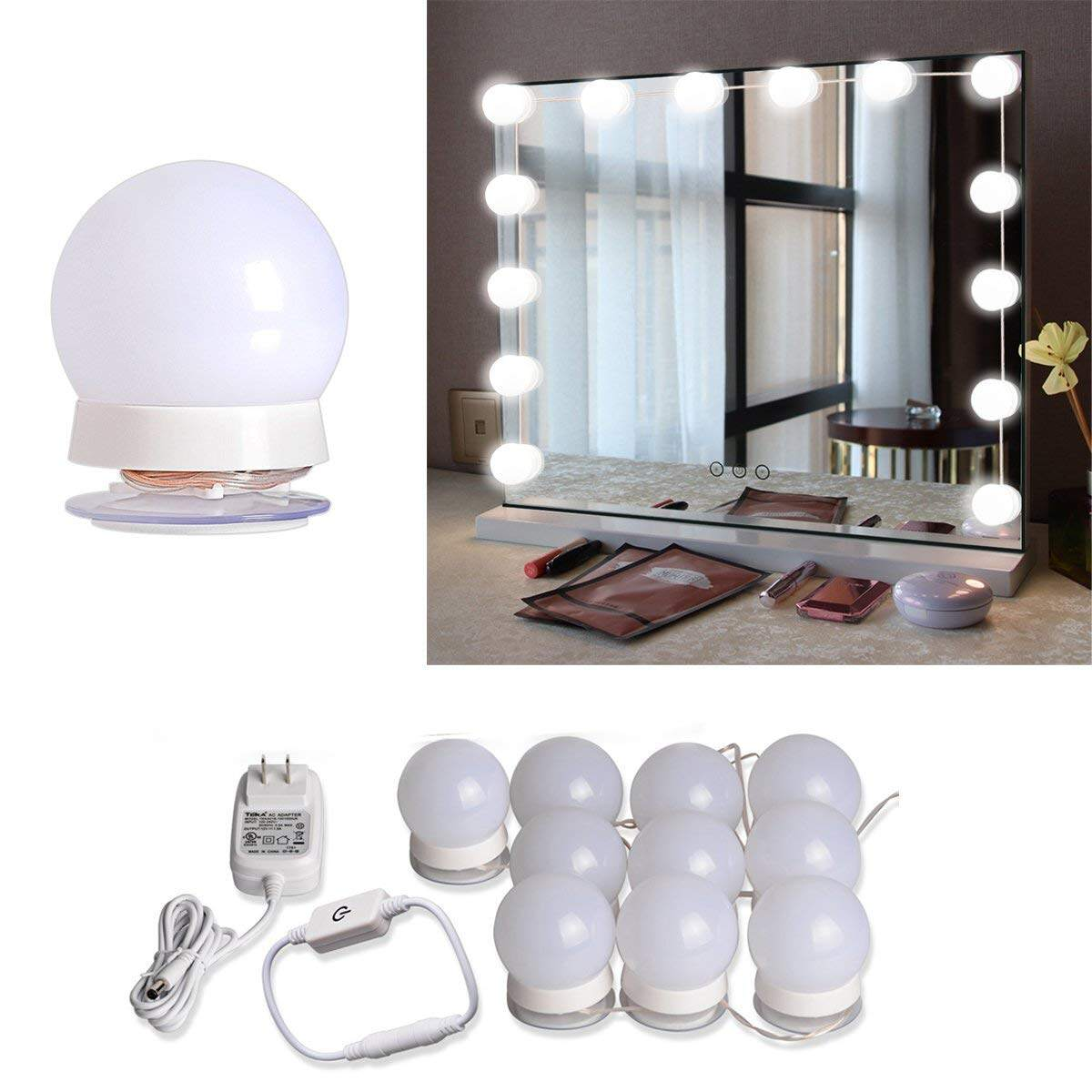 led vanity mirror light kit with 10 dimmable light bulbs. Black Bedroom Furniture Sets. Home Design Ideas