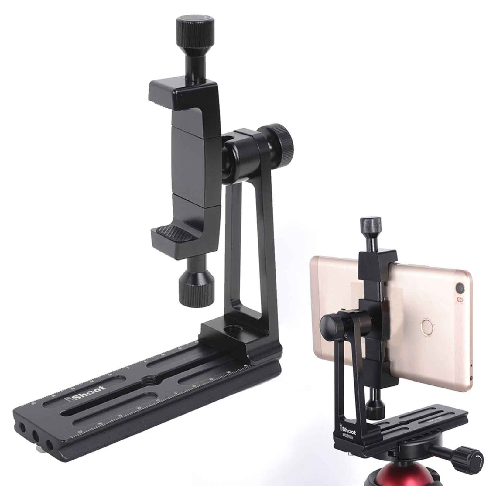 Universal Phone Mount 360° Rotate Bracket Holder Clamp Adapter w/QR Plate for ARCA-SWISS Fit Tripod Ball Head