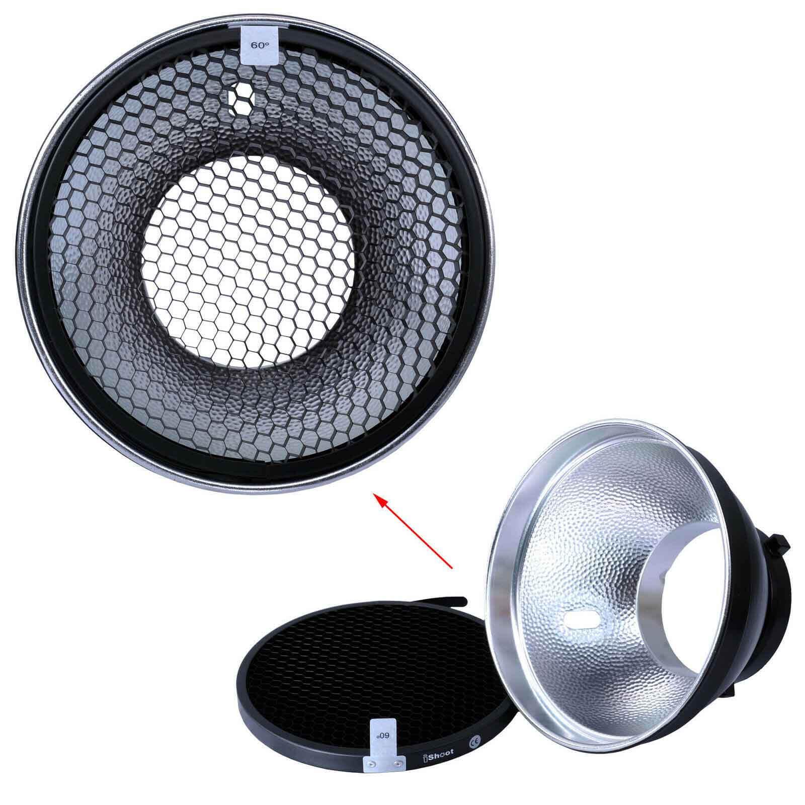 18cm Reflector Diffuser+Honeycomb Grid for Bowens Mount Studio Strobe Flash