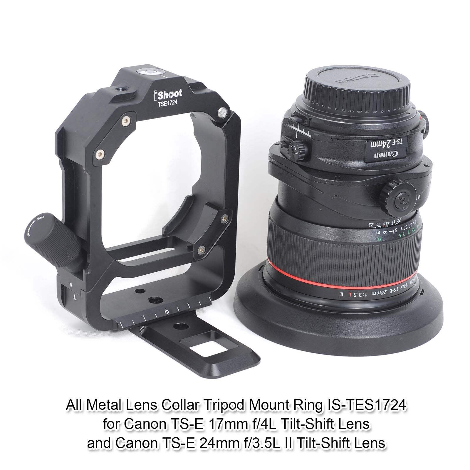 Camera Lens Collar Support for Canon TS-E 17mm f//4L Tilt-Shift Lens and Canon TS-E 24mm f//3.5L II Tilt-Shift Lens Tripod Mount Ring Built-in Arca-Swiss Quick Release Plate for Tripod Ball Head