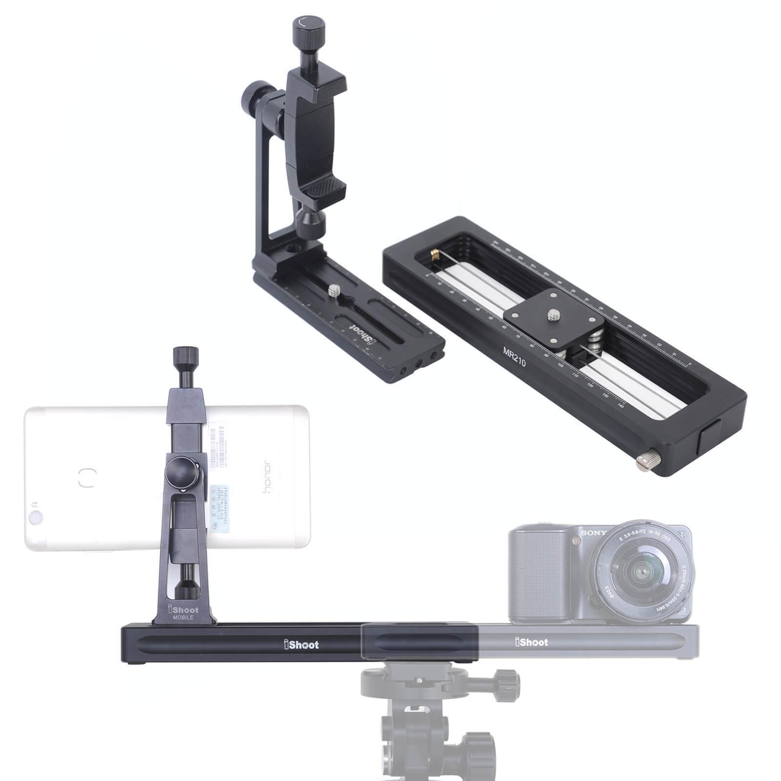 Macro Focusing Rail Slider & Phone Holder for Camera MILC, Tripod Ballhead,Phone