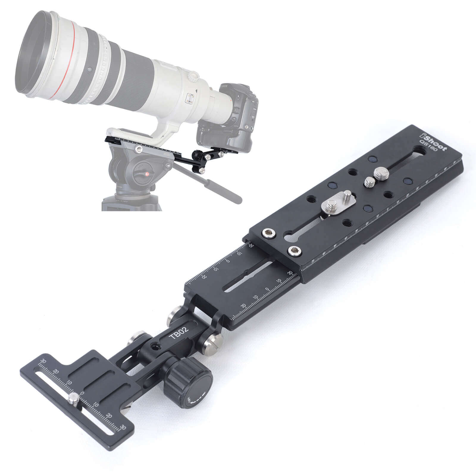 Long Lens Support and Quick Release Plate for Fluid Head Manfrotto Sachtler FSB