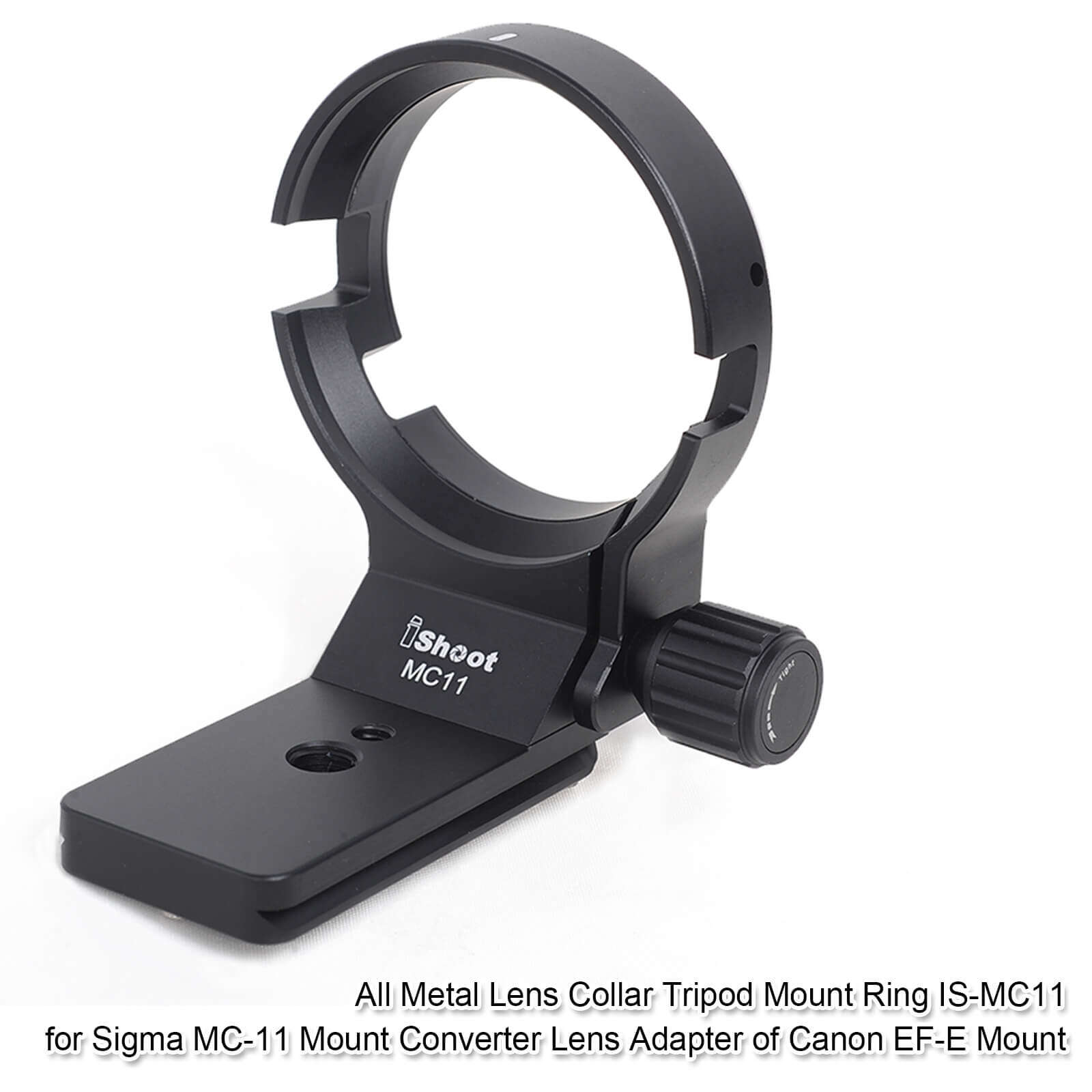 iShoot Tripod Mount Ring Bottom is Arca-Swiss Type Quick Release Plate for Tripod Ball Head CNC Machined Camera 61.5mm Lens Collar for Sigma MC-11 Mount Converter Lens Adapter of Canon EF-E Mount