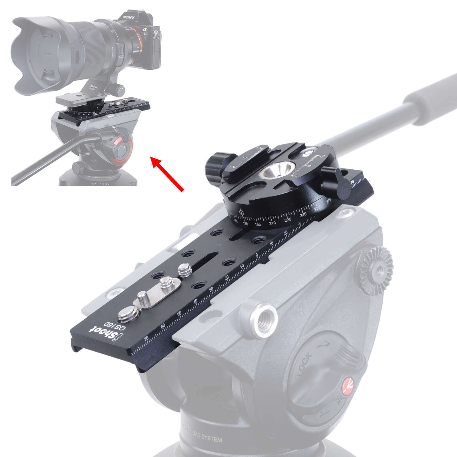 Adapter Connect Arca-Swiss Quick Release Plate to Manfrotto Tripod Fluid Head