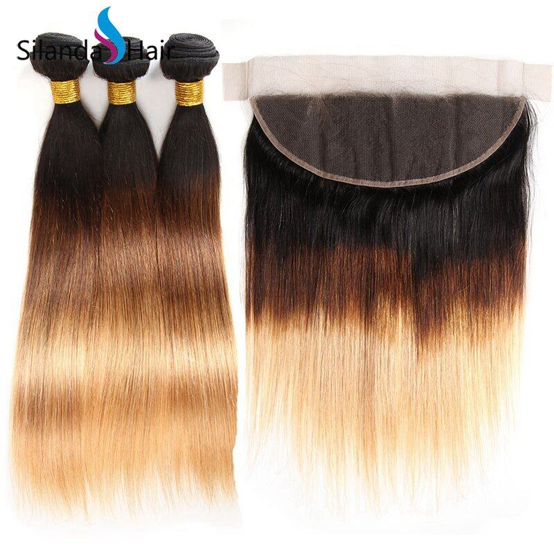 JXCT-218 #T 1B/4/27 Straight Remy Human Hair Weaves With Lace Frontal 13X4