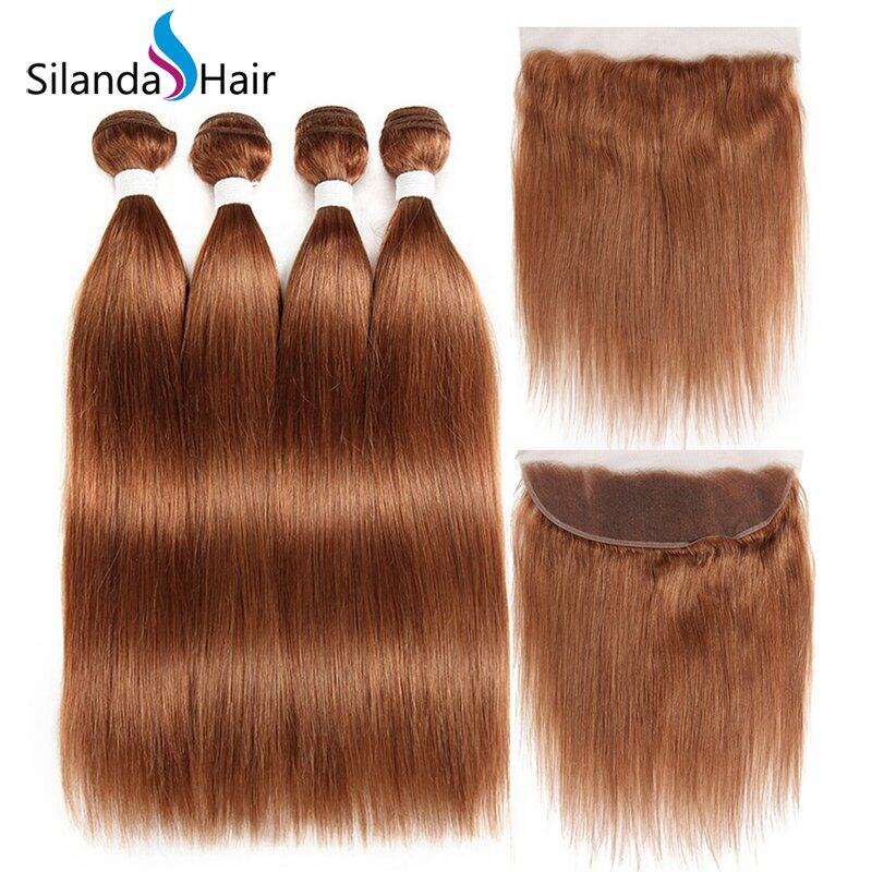 #30 Straight Remy Human Hair Weaving Bundles With Lace Frontal 13X4 JXCT-222