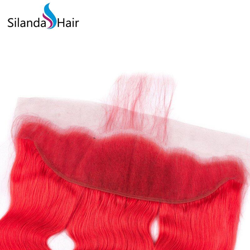 Red Body Wave Remy Human Hair Weaving Bundles With Lace Frontal 13X4 JXCT-31