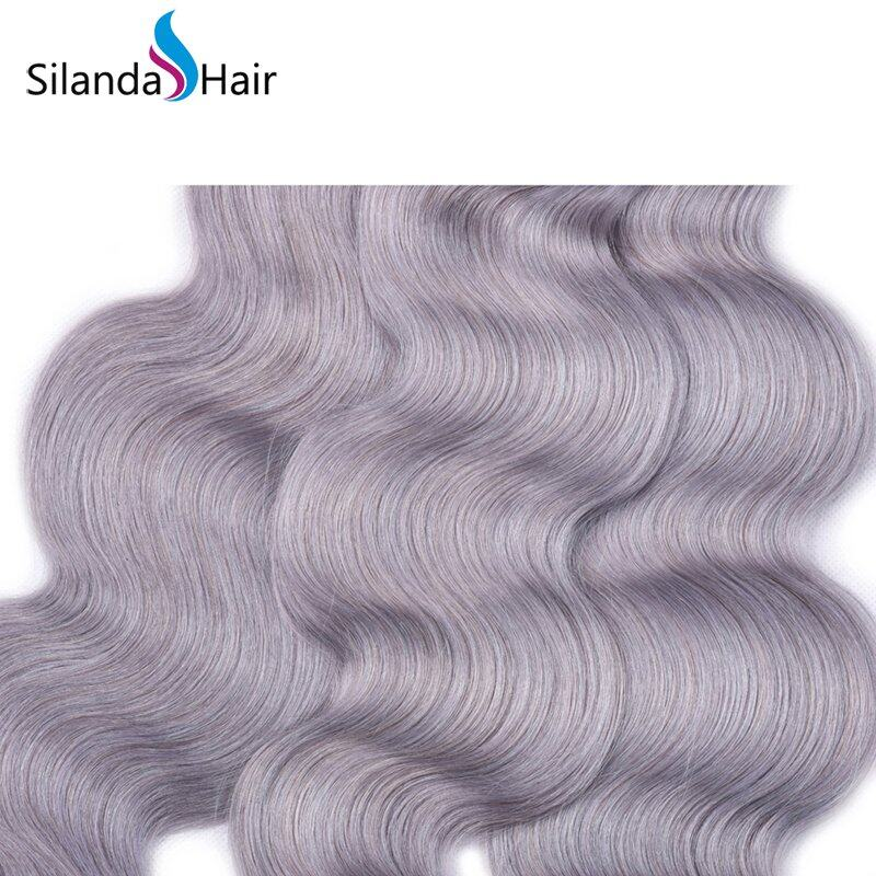 Grey Body Wave Remy Human Hair Weaving Bundles With Lace Frontal 13X4 JXCT-225