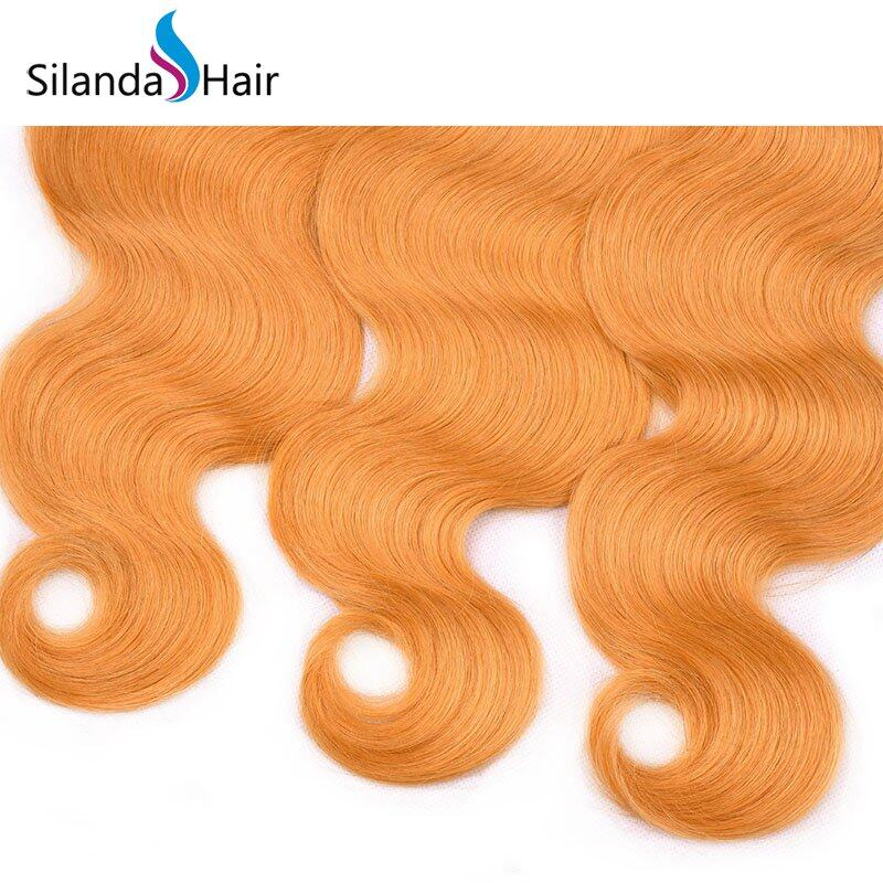 Orange Body Wave Remy Human Hair Weaving Bundles With Lace Frontal 13X4 JXCT-226