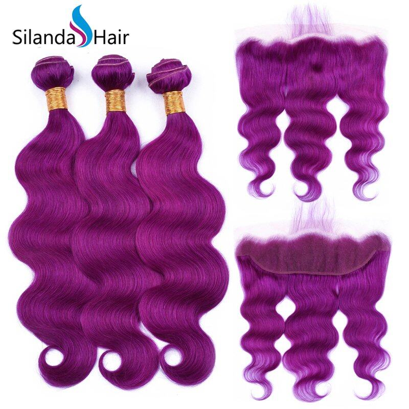 Pure Purple Body Wave Human Hair Weaving Bundles With Lace Frontal 13X4 JXCT-227