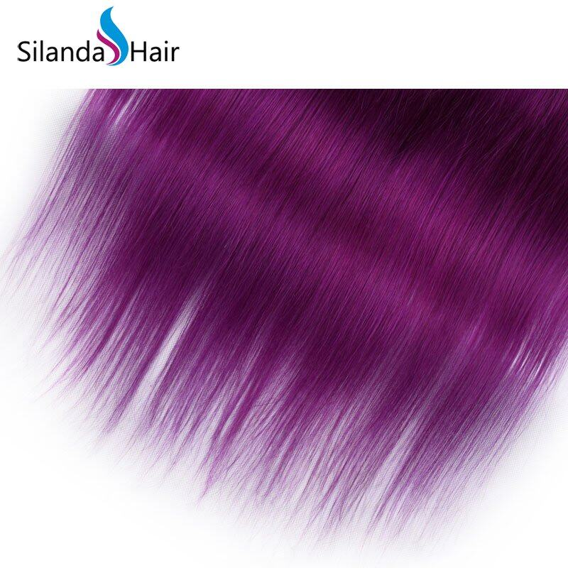Purple Straight Remy Human Hair Weaving Bundles With Lace Frontal 13X4 JXCT-228