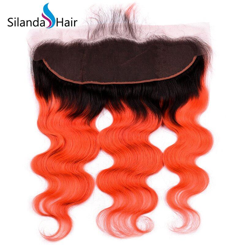 JXCT-265 #T 1B/Orange Red Body Wave Remy Human Hair Weaves With Lace Frontal 13X4