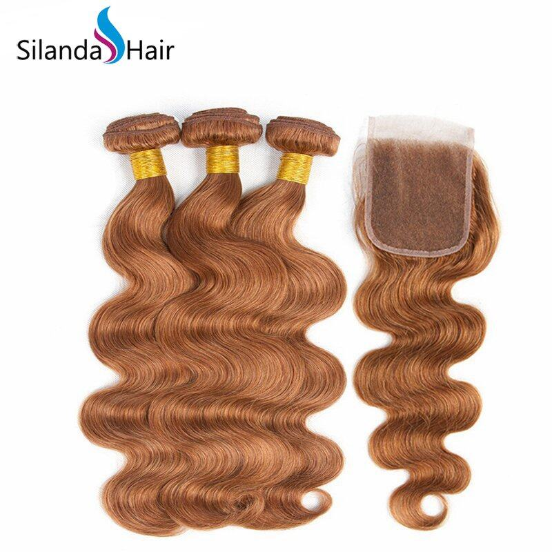 #30 Body Wave Remy Human Hair 3 Bundles With Lace Closure 4X4 JXCT-237