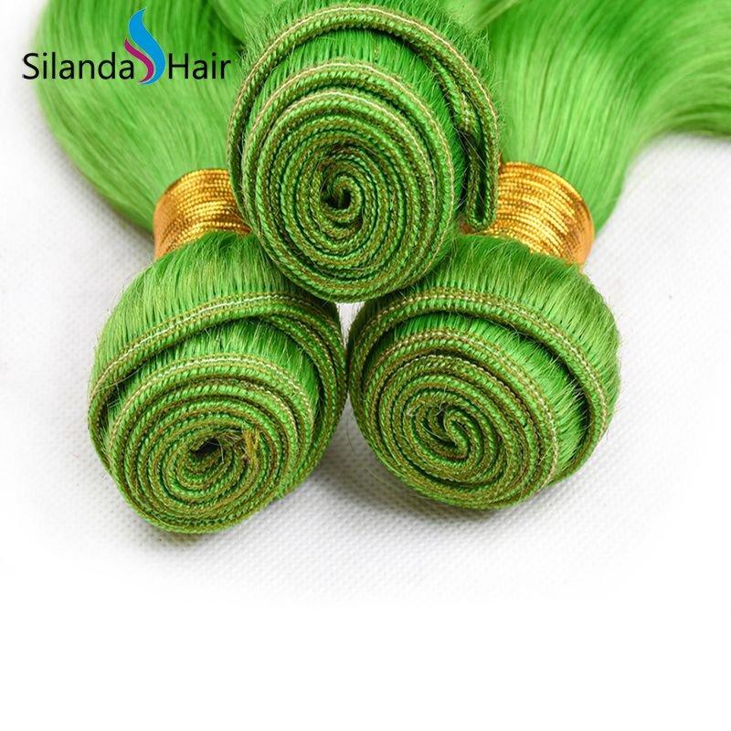 Light Green Body Wave 100% Remy Human Hair 3 Bundles