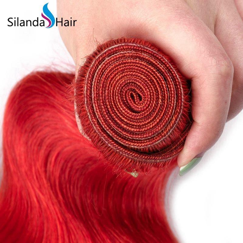 Red Body Wave Remy Human Hair 3 Bundles