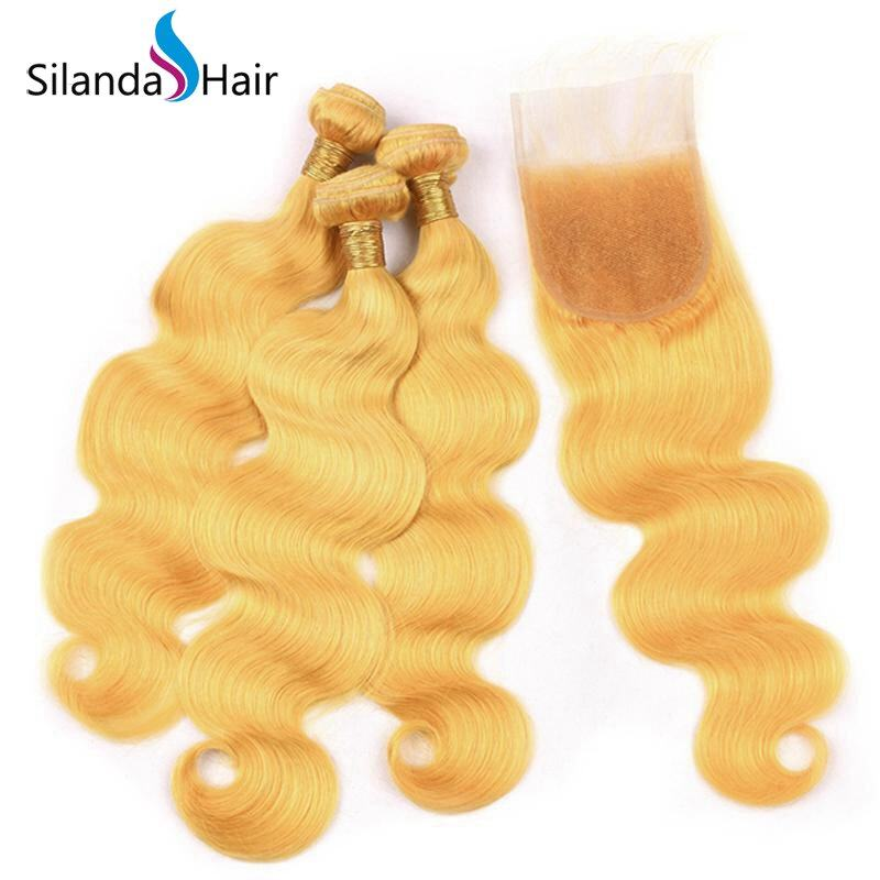 Pre Colored Yellow Body Wave Weave With Closure Remy Human Hair 3 Bundles