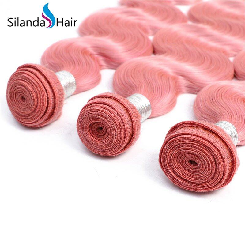 Nice Colored Body Wave Rose Pink Remy Human Hair 3 Bundles