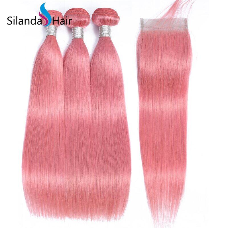 Rose Pink Straight Remy Human Hair 3 Bundles With Lace Closure 4X4 JXCT-262