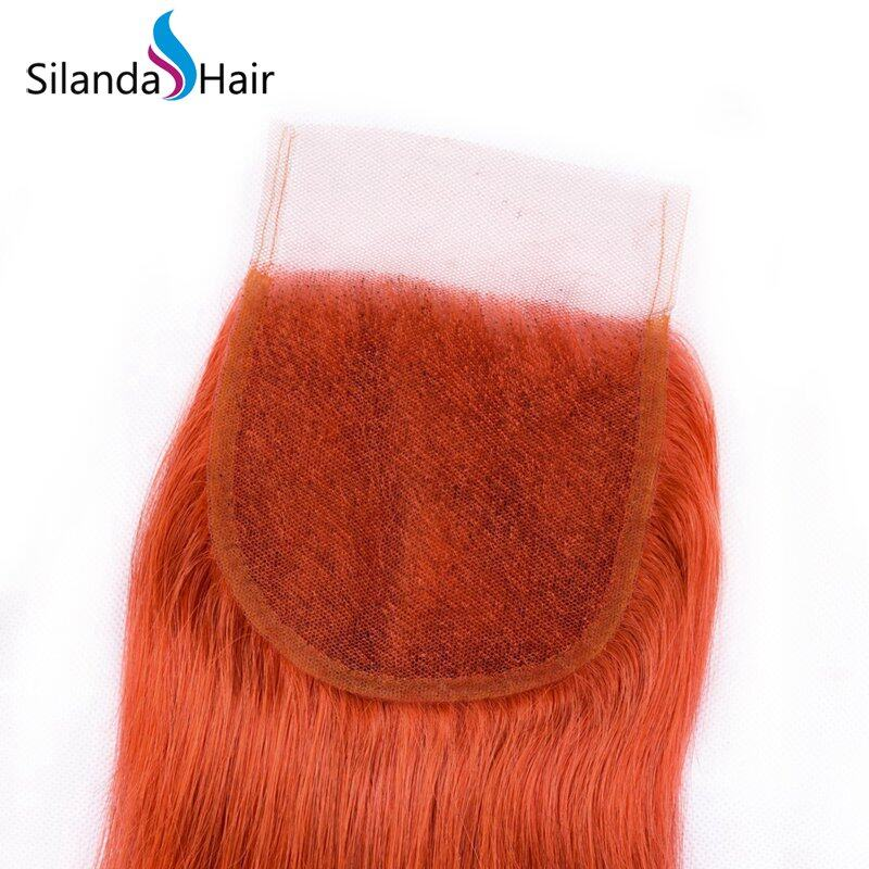 Orange Red Straight Weaves With Closure Remy Human Hair 3 Bundles