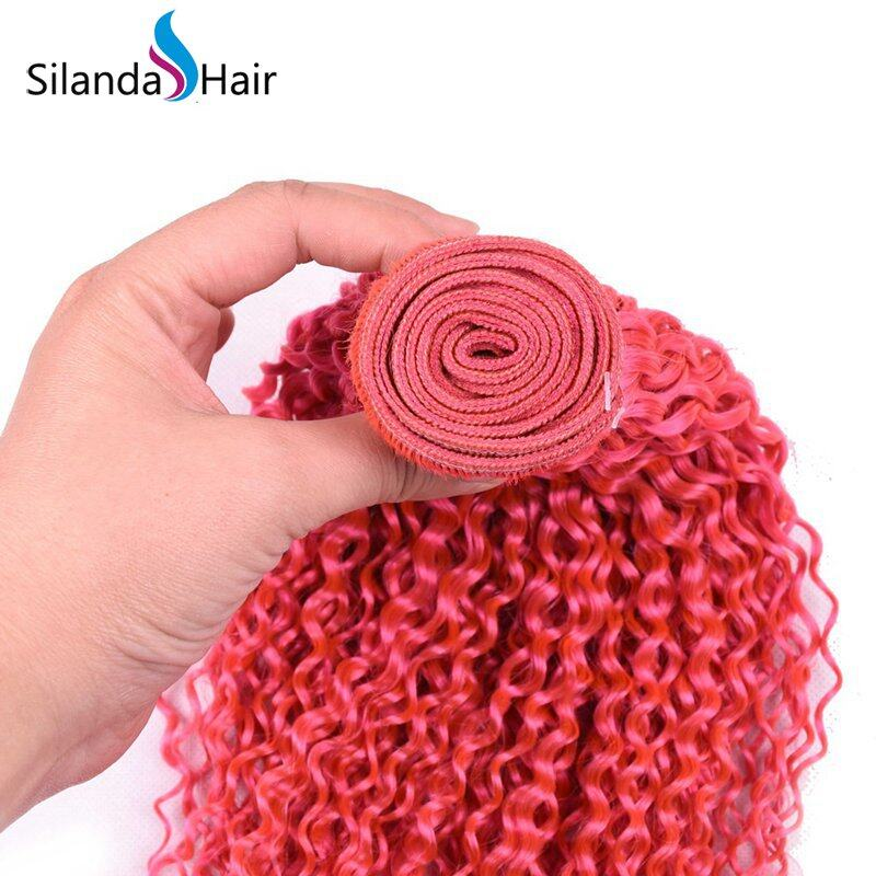 Pure Colored Pink Kinky Curly Remy Human Hair 3 Bundles