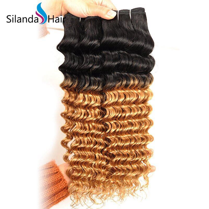 1B/27 Deep Wave Remy Human Hair Ombre Hair Bundles With Lace Closure