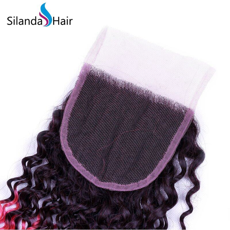 Top Grade #T 1B/Pink Kinky Curly Remy Human Hair Ombre Hair Bundles