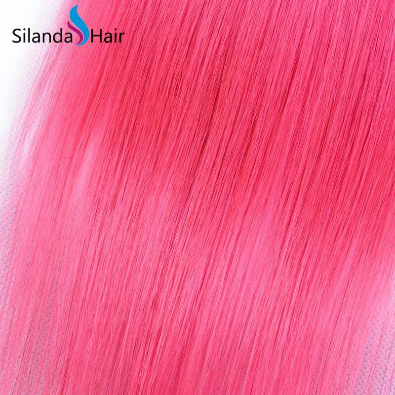 #T 1B/Pink Straight Remy Human Hair Ombre Hair Bundles