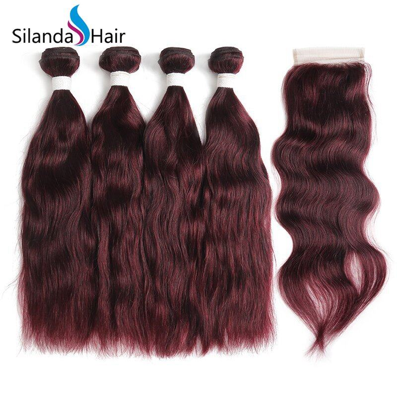 Natural Wave Remy Human Hair Weft With Closure 3 Bundles