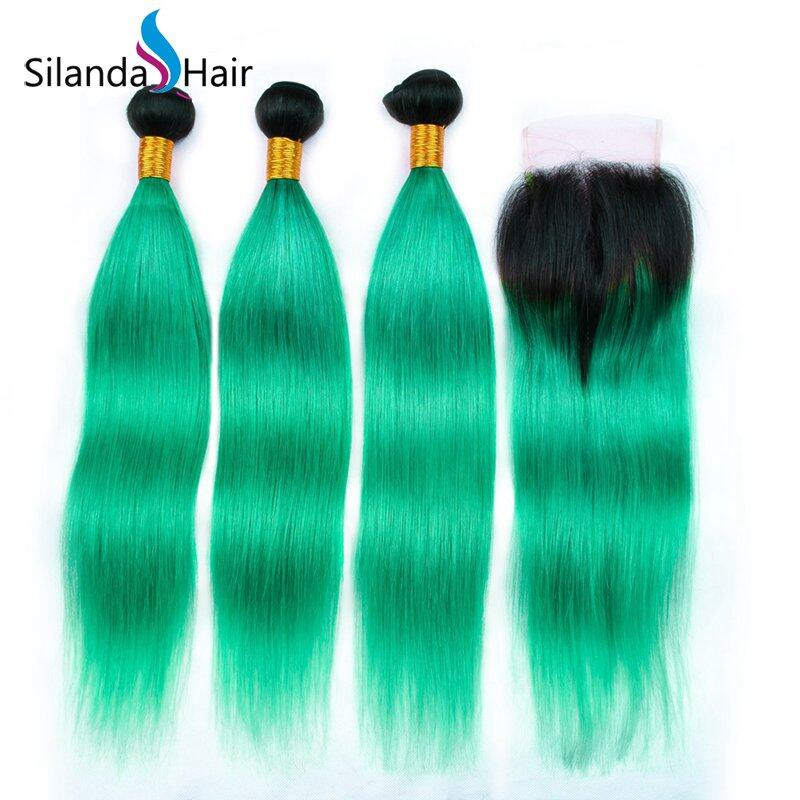 1B/Light Green Straight Remy Human Hair Ombre Hair Bundles
