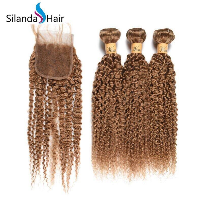 Kinky Curly Remy Human Hair Weaves With Closure 3 Bundles