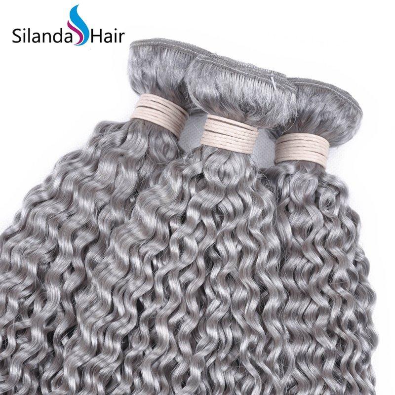 Grey Kinky Curly Remy Human Hair Weaving Bundles