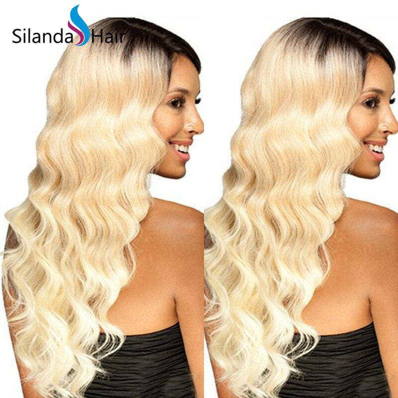 Hot Sale Silanda Hair Body Wave Lace Front Full Lace Wigs Remy Human Hair #T 1B/613