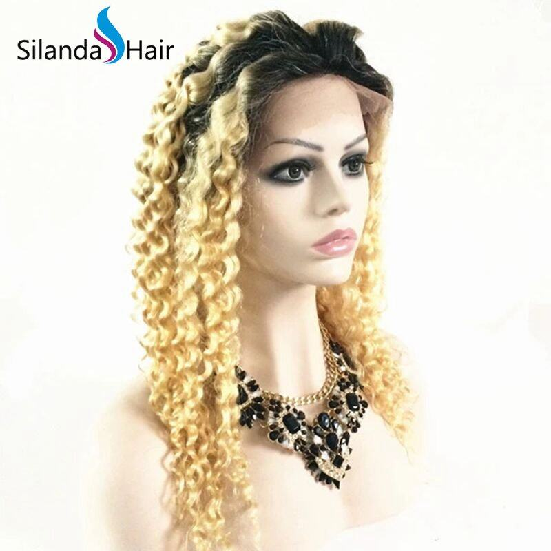 High Quality 2 Tone #T 1B/613 Jerry Curly Remy Human Hair Lace Front Full Lace Wigs