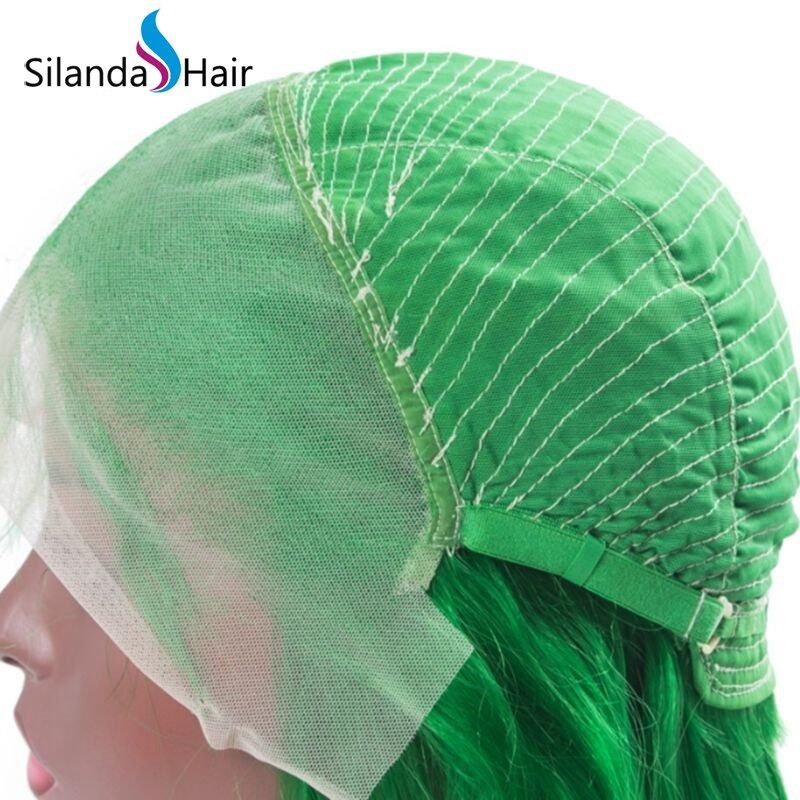 Silanda Hair 100 Percent Nice Green Straight Brazilian Remy Human Hair Lace Front Full Lace Wigs