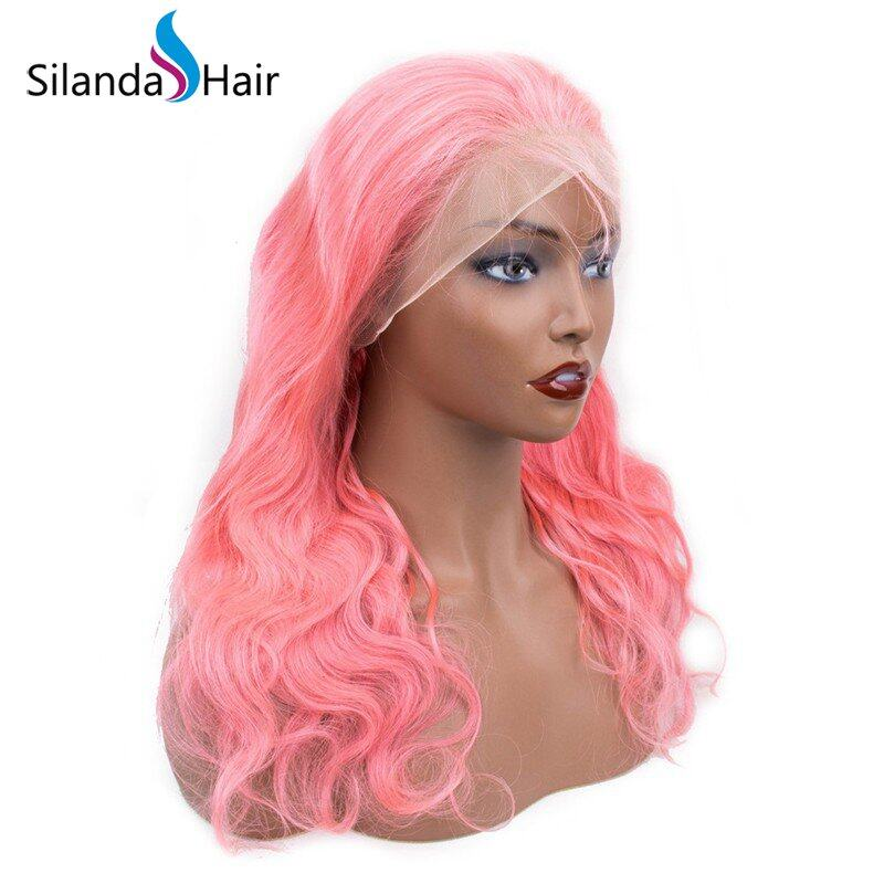 Silanda Hair Popular Style Pink Body Wave Brazilian Remy Human Hair Lace Front Full Lace Wigs