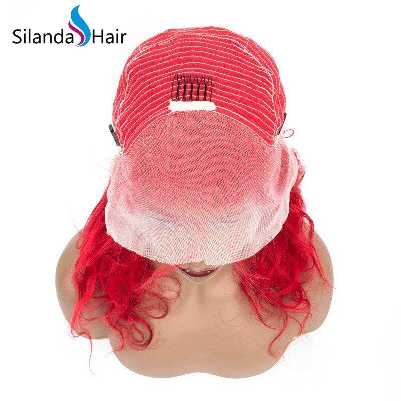 Silanda Hair Top Grade Red Body Wave Brazilian Remy Human Hair Lace Front Full Lace Wigs