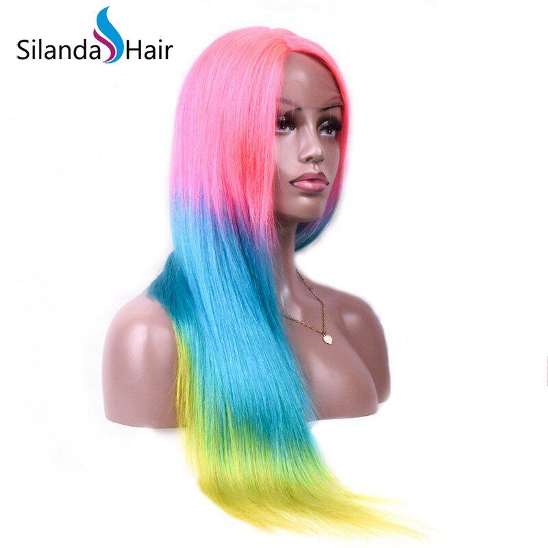 Silanda Hair Fashion Ombre #T Pink/Blue/Yellow Straight Brazilian Remy Human Hair Lace Front Full Lace Wigs