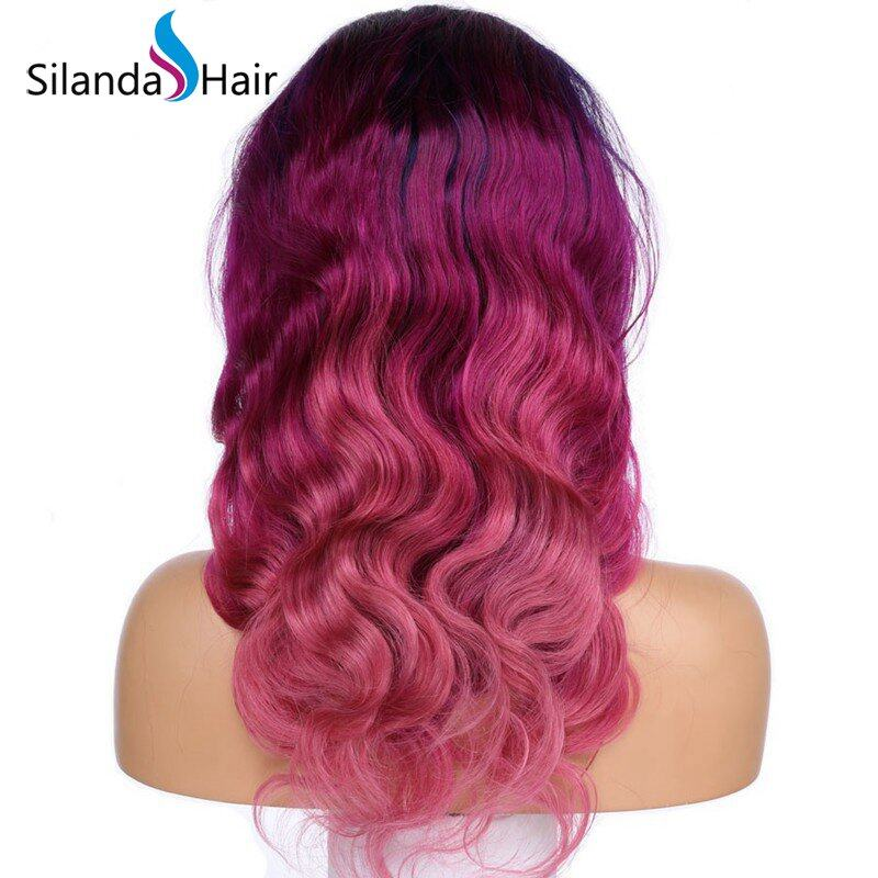 Blue/Light Purple/Pink Body Wave Brazilian Remy Human Hair Lace Front Full Lace Wigs
