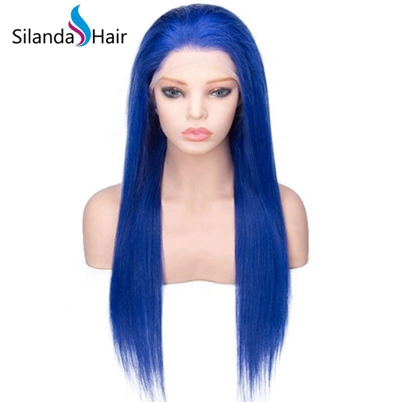 Silanda Hair Top Quality Blue Straight Brazilian Remy Human Hair Lace Front Full Lace Wigs
