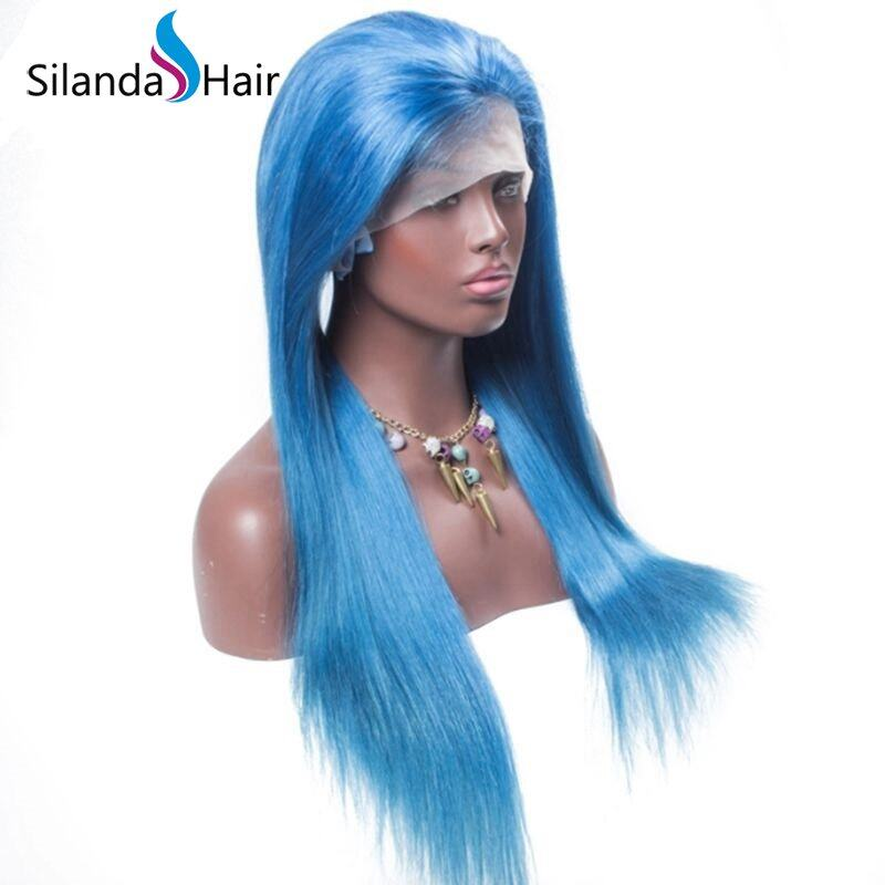 Silanda Hair Hot Sale Blue Straight Brazilian Remy Human Hair Lace Front Full Lace Wigs