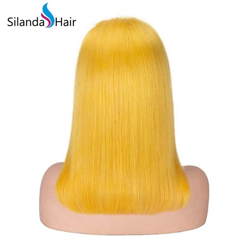 Silanda Hair Top Quality Yellow Straight Brazilian Remy Human Hair Lace Front Full Lace Wigs