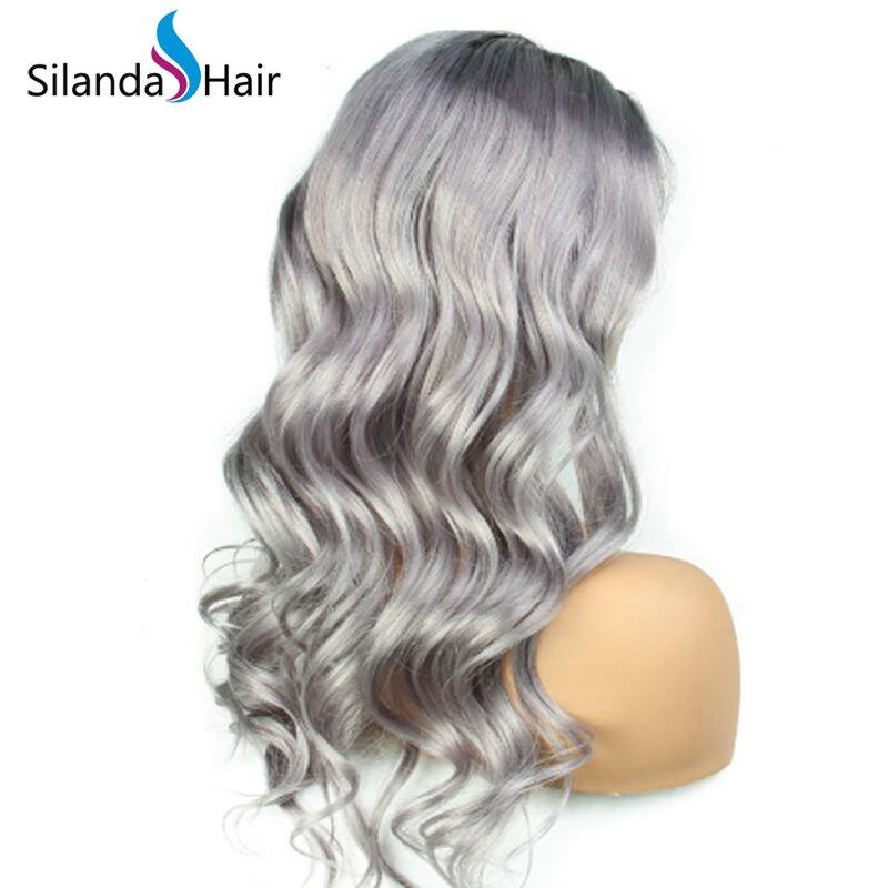 Silanda Hair Top Grade Ombre #T 1B/Grey Body Wave Brazilian Remy Human Hair Lace Front Full Lace Wigs