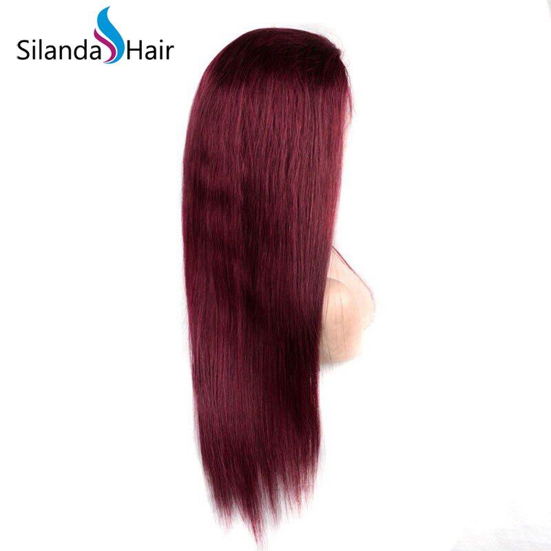 Silanda Hair Top Quality Pure Burgundy Straight Brazilian Remy Human Hair Lace Front Full Lace Wigs