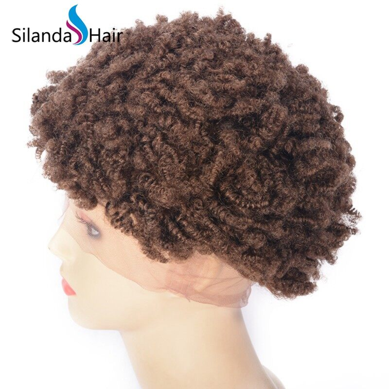 Afro Curly Brazilian Remy Human Hair Lace Front Full Lace Wigs