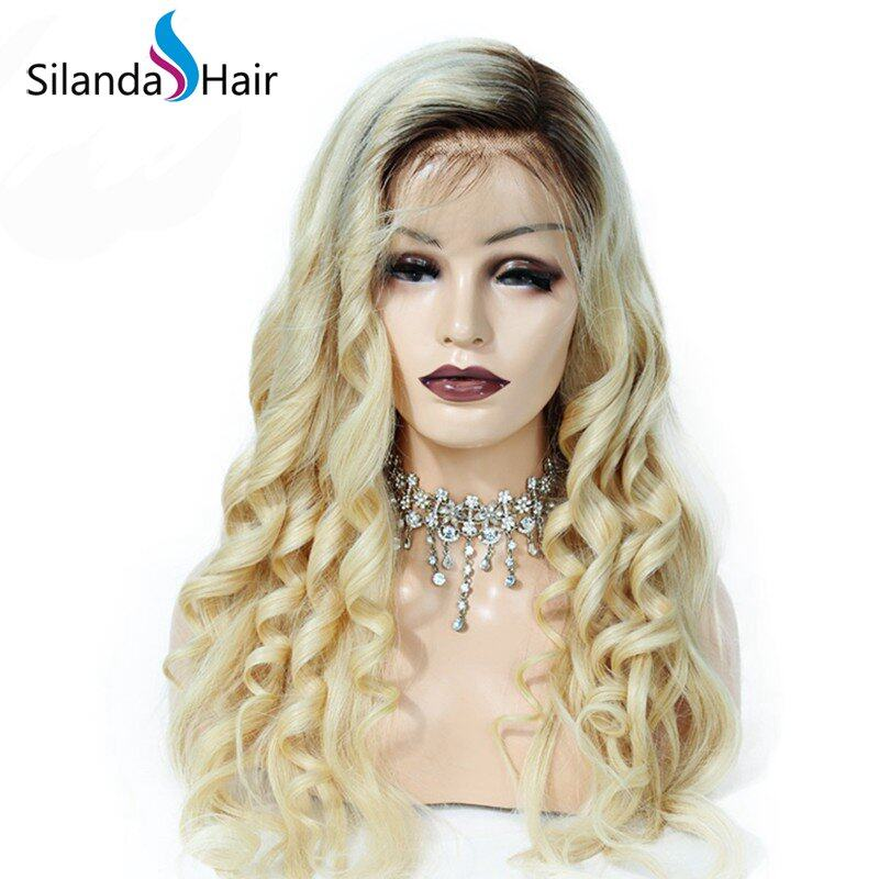 Remy Human Hair High Quality Lace Front Full Lace Wigs #T 4/613 Loose Wave