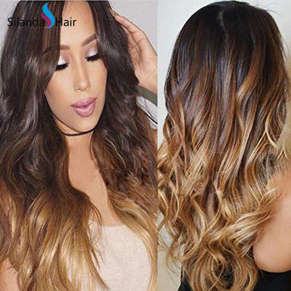 Silanda Hair Top Seller #T 1B/4/27 Body Wave Brazilian Remy Human Hair Lace Front Full Lace Wigs
