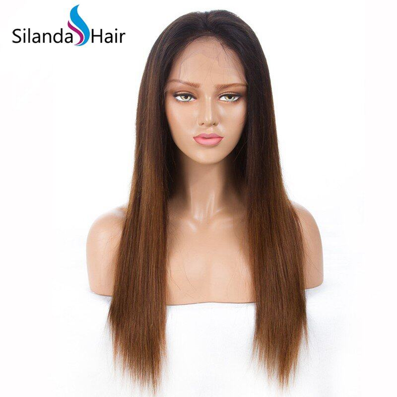 Silanda Hair Top Grade Ombre #T 1B/4/30 Straight Brazilian Remy Human Hair Lace Front Full Lace Wigs