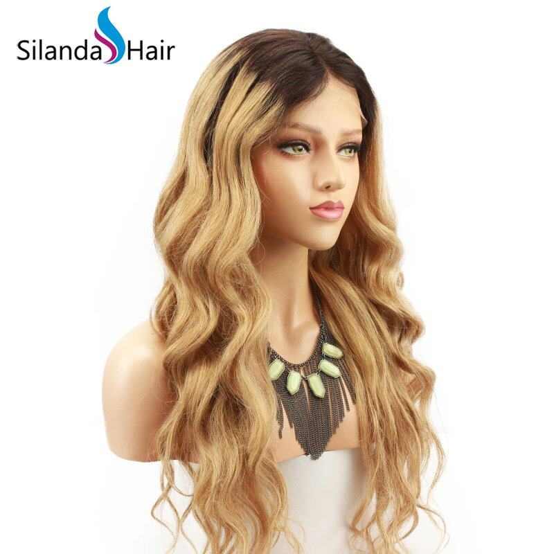 Silanda Hair High Grade Ombre #T 1B/27 Body Wave Brazilian Remy Human Hair Lace Front Full Lace Wigs