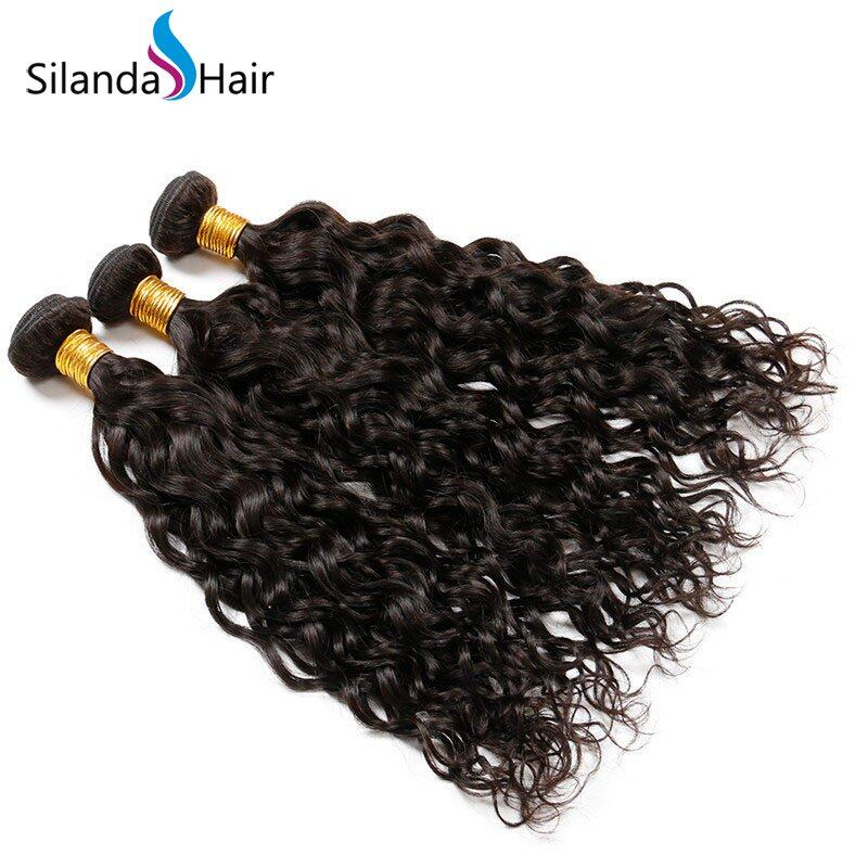 Natural Color Weft Hair Extensions Water Wave Brazilian Remy Human Hair Bundle Deals 3pcs/pack HAHW-09